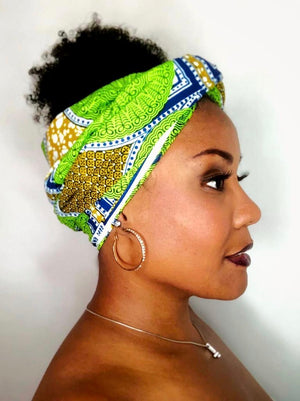 Headwrap Green, Blue, Yellow & Abstract Shapes