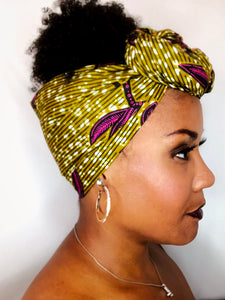 Headwrap Ocher Yellow with Pink Leaves