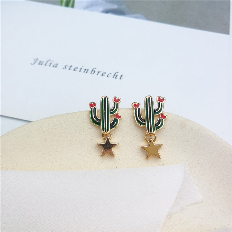 Cactus drop earrings with gold star embellishment