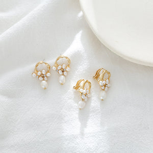 Pearl stud earrings in floral design with sterling sliver pin