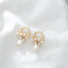 Load image into Gallery viewer, Pearl stud earrings in floral design with sterling sliver pin