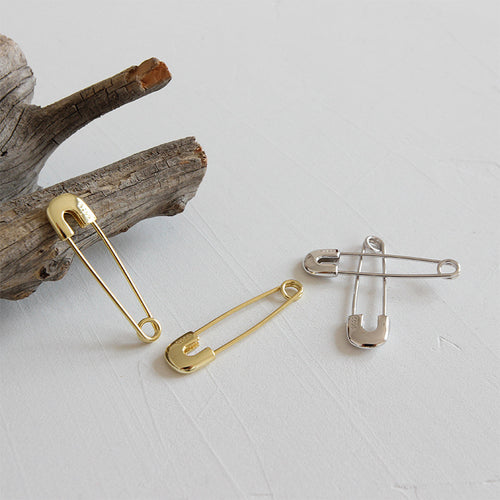 Sterling Silver Safety Pin Paperclip earrings