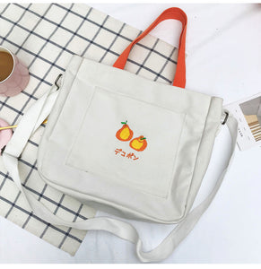 Kawaii Fruit Canvas Tote-4 color