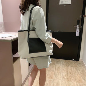 Canvas + PU Tote Bag- 4 Color