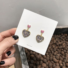 Load image into Gallery viewer, Pink heart drop earrings with sequin detail