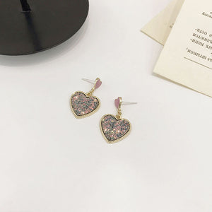 Pink heart drop earrings with sequin detail