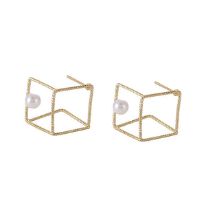 Cube stud earrings with pearls and sterling sliver pin