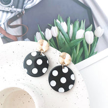 Load image into Gallery viewer, Black&White Polka Dots Earrings with Silver Pin