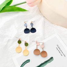 Load image into Gallery viewer, Macaron color geometry earrings with sterling silver pin
