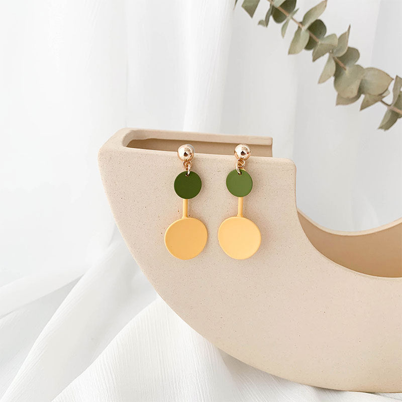 Macaron color geometry earrings with sterling silver pin