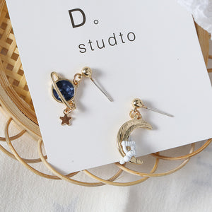 Gold planet drop earrings with sterling sliver pin