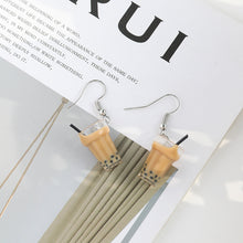 Load image into Gallery viewer, Bubble tea drop earrings with sterling sliver pin