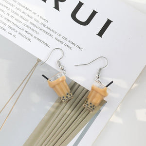 Bubble tea drop earrings with sterling sliver pin