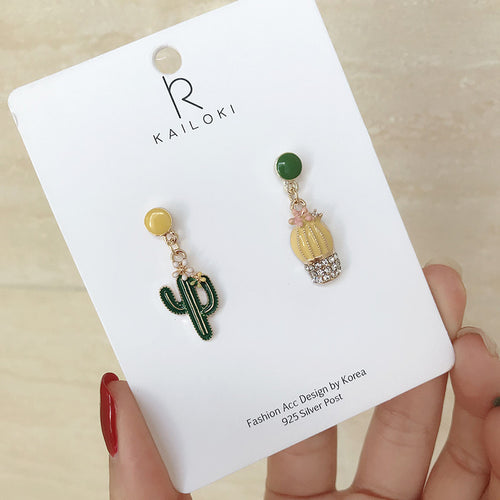 Asymmetrical cactus drop earrings