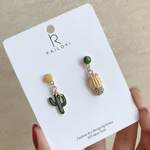 Load image into Gallery viewer, Asymmetrical cactus drop earrings