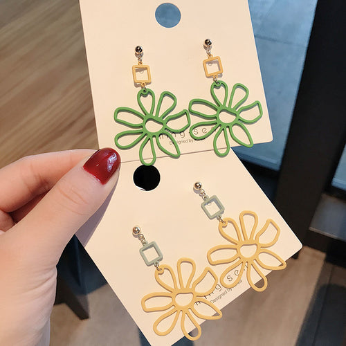 Floral design statement drop earrings