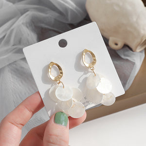 Gold hoop seashell drop earrings with sterling sliver pin
