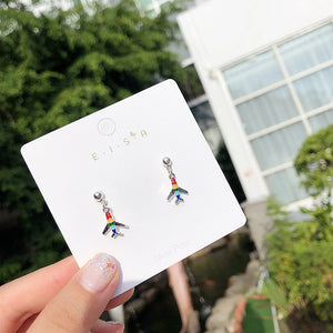 Rainbow stud earrings with sterling sliver pin