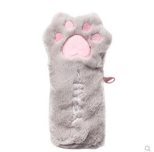 Kawaii Fluffy Cat Paw Pencil Case