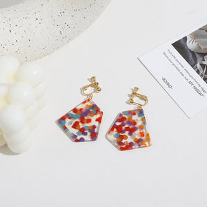 Acrylic Colorful Polka Dots Earrings with silver pin