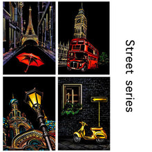 Load image into Gallery viewer, A4 Colorful Scratch Art Cards - 4 pcs