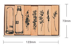 Retro Wooden Plant and Bottle Stamps Set - 7/8 Pcs