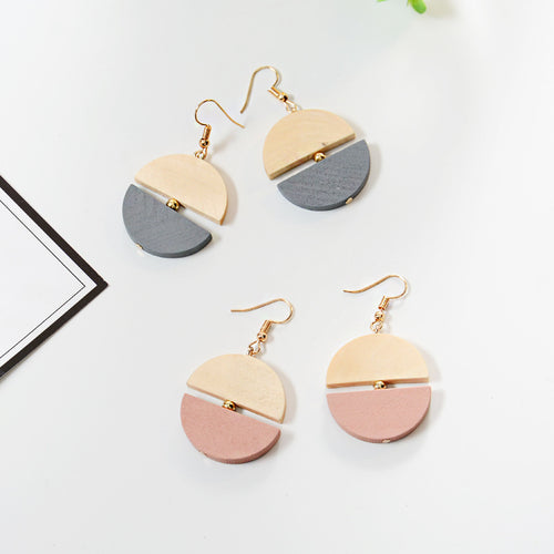 Wooden design contrast color drop earrings
