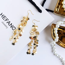 Load image into Gallery viewer, Statement star strands drop earrings