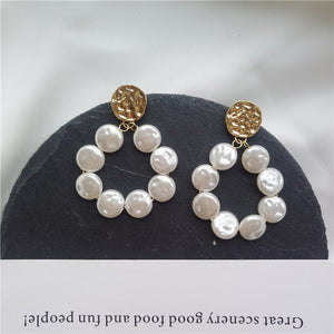 Elegant Pearl Hoop Earring with silver pin