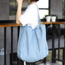 Load image into Gallery viewer, Large Denim Tote Bag