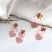 Load image into Gallery viewer, Pink heart drop earrings