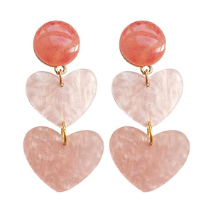 Pink heart drop earrings