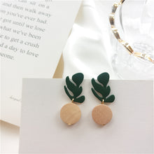 Load image into Gallery viewer, Wooden drop earrings in leaf shape