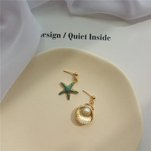 Shell and Starfish Earrings with silver pin