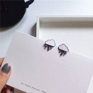 Raindrop stud earrings with sterling sliver