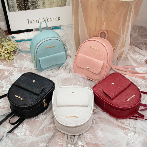 Mini Women Leather Shoulder Backpack