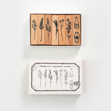 Load image into Gallery viewer, Retro Wooden Plant and Bottle Stamps Set - 7/8 Pcs