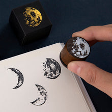 Load image into Gallery viewer, Retro Moon Phase Series Wooden Stamps