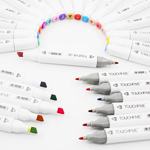 TouchFive Double Tips Alcoholic Art Markers - 12/36/80/168 Colors