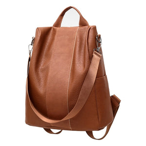 Classic Leather Solid Color Fashion Backpack