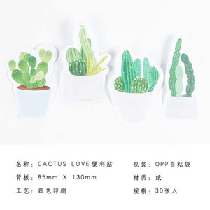 Cactus Love Sticky Memo Notes - Set Of 4 -paperhouse