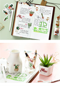 Kawaii Green Potted Plant Sticker-45 pcs/box -paperhouse