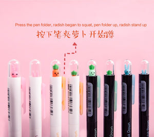 Cute Cartoon Radish and Rabbit Gel Pen/Pencil-4 Pcs -paperhouse