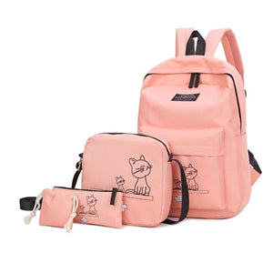 Cute Cat Backpack - 4pcs/Set