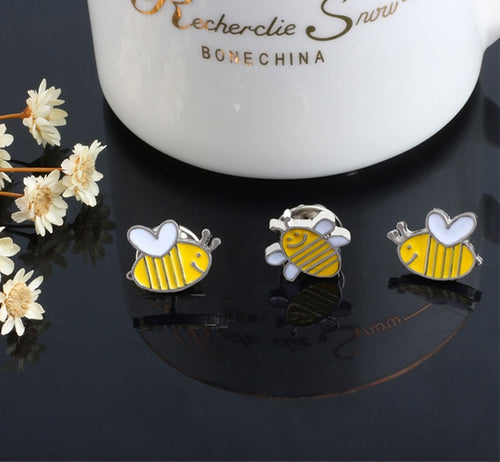 Happy Bee Enamel Pins - 3pcs