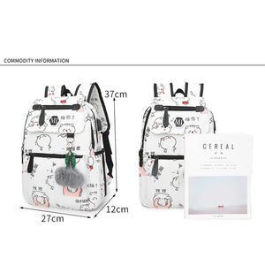 USB Charging Canvas Backpack - 3 pcs/set
