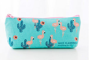 Kawaii Flamingo Canvas Pencil Case -paperhouse