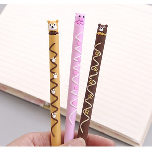 0.5mm Cute Chocolate Animal Gel Pen-6 Pcs -paperhouse