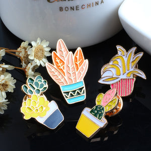 Potted Plants Enamel Pins - 4pcs