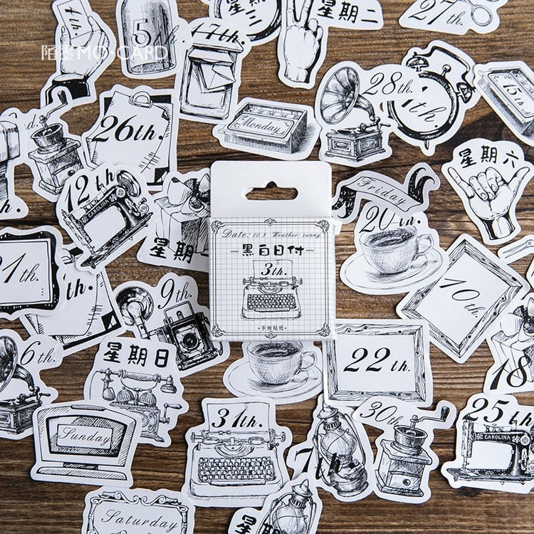 Creative Cute Life Supply Date Stickers - 45pcs/lot